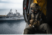 Memes, 🤖, and Class: U.S. Naw photo by Mass Communication Specialist 3rd Class Gavin Shields Naval Aircrewman 2nd Class Tanner Brown, from Prescott Valley, Ariz., aboard an MH-60S Sea Hawk helicopter during a vertical replenishment-at-sea with the amphibious assault ship USS Bonhomme Richard. The Bonhomme Richard is operating in the 3rd Fleet area of operations.