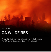 A series of wildfires in California has left at least 31 dead. The Camp Fire has become the state's deadliest wildfire since 1933. At least 29 have died and more than 200 are still missing. Paradise, a town about 90 miles north of Sacramento, was virtually destroyed after the fire consumed at least 6,713 structures. ___ The Woolsey Fire in Ventura and Los Angeles counties was only 20% contained Monday morning. It has burned at least 91,572 acres in Southern California, killing at least two, and forced the evacuation of the city of Malibu. ___ Photo: Getty: U.S. NEWS  CA WILDFIRES  Nov 12 |A series of active wildfires in  California leave at least 31 dead. A series of wildfires in California has left at least 31 dead. The Camp Fire has become the state's deadliest wildfire since 1933. At least 29 have died and more than 200 are still missing. Paradise, a town about 90 miles north of Sacramento, was virtually destroyed after the fire consumed at least 6,713 structures. ___ The Woolsey Fire in Ventura and Los Angeles counties was only 20% contained Monday morning. It has burned at least 91,572 acres in Southern California, killing at least two, and forced the evacuation of the city of Malibu. ___ Photo: Getty