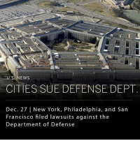Church, Memes, and New York: U.S. NEWS  CITIES SUE DEFENSE DEPT  Dec. 27 | New York, Philadelphia, and San  Francisco filed lawsuits against the  Department of Defense New York, Philadelphia, and San Francisco filed lawsuits yesterday against the Department of Defense. These cities are arguing that the Department of Defense has failed to report military convictions into a federal database intended to prohibit a criminal from acquiring a firearm. ____ Last month, a gunman killed 26 people in a church in Texas, an attack which many believe could have been prevented. The shooter had previously been convicted of domestic violence while he was in the Air Force, however his name was never entered into the database. ______ Photo: Getty Images
