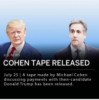 "Tuesday night CNN aired a secret recording made by President Donald Trump's former attorney Michael Cohen of a conversation that took place during the 2016 presidential campaign. Analysts believe that in the recording Trump and Cohen can be heard discussing buying the rights to former Playboy model Karen McDougal's story, which involve an alleged affair with then-candidate Trump. In the tape, Cohen says he will set up a shell company for payments. Cohen is heard saying, ""We'll have to pay,"" while Trump responds saying to pay in cash. Cohen then tells Trump, ""No, no."" ___ President Trump responded to the release of the tape Wednesday morning on Twitter: ""What kind of a lawyer would tape a client? So sad! Is this a first, never heard of it before? Why was the tape so abruptly terminated (cut) while I was presumably saying positive things? I hear there are other clients and many reporters that are taped - can this be so? Too bad!"": U.S. NEWS  COHEN TAPE RELEASED  July 25 