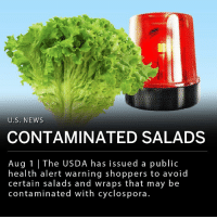 "Food, Fresh, and Memes: U.S. NEWs  CONTAMINATED SALADS  Aug 1 |The USDA has issued a public  health alert warning shoppers to avoid  certain salads and wraps that may be  contaminated with cyclospora. The US Department of Agriculture has issued a public health alert warning shoppers to not buy certain salads and wraps sold at Walgreens, Trader Joe's and Kroger. These products may be contaminated with cyclospora, a parasite that causes intestinal illness. ___ The USDA's Food Safety and Inspection Service said in a statement Tuesday: ""The problem was discovered when Caito Foods LLC received notification from their lettuce supplier, Fresh Express, that the chopped romaine that is used to manufacture some of their salads and wraps was being recalled."" ___ An outbreak of sickness from cyclospora linked to McDonald's salads began in May and resulted in a recall of greens at 3,000 McDonald's locations."