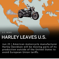 Bailey Jay, Juice, and Memes: U.S. NEWS  HARLEY LEAVES U.S  Jun 25 American motorcycle manufacturer  Harley-Davidson will be moving parts of its  production outside of the United States to  avoid European Union tariffs. Harley-Davidson, the American motorcycle manufacturer, announced it will be moving some of its bike production outside the United States in order to avoid tariffs imposed by the European Union. The European Union imposed tariffs on $3.2 billion worth of American products last week, including bourbon, orange juice, and motorcycles. ___ Harley-Davidson's announcement was made in a public filing, where the company revealed the European Union tariffs on its motorcycles had increased from 6 percent to 31 percent. The motorcycle manufacturer estimated that the higher tariffs would add around $2,200 on average to every motorcycle exported from the U.S to European countries. Moving the production of bikes headed to Europe would avoid this price increase. ___ Harley-Davidson produces some bikes and parts in India, Brazil, Australia and Thailand. The shift to move more production outside of the U.S. is due to take around 9 - 18 months to complete. The company sold about 40,000 motorcycles in Europe last year, making that region their most valued market after the U.S.