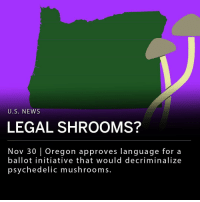Oregon Secretary of State Dennis Richardson reportedly approved language for a ballot initiative that would decriminalize psychedelic mushrooms and allow regulated administration of the drug. If the initiative's organizers get 17,578 the legislation will be voted on in Oregon's 2020 general election. Organizers cite evidence that the drug could be an effective treatment for PTSD and depression. Possession of Psilocybin is currently a felony in the United States. ___ An initiative to decriminalize Psilocybin mushrooms in California failed and did not receive a vote.: U.S. NEWS  LEGAL SHROOMS?  Nov 30 Oregon approves language for a  ballot initiative that would decriminalize  psychedelic mushrooms. Oregon Secretary of State Dennis Richardson reportedly approved language for a ballot initiative that would decriminalize psychedelic mushrooms and allow regulated administration of the drug. If the initiative's organizers get 17,578 the legislation will be voted on in Oregon's 2020 general election. Organizers cite evidence that the drug could be an effective treatment for PTSD and depression. Possession of Psilocybin is currently a felony in the United States. ___ An initiative to decriminalize Psilocybin mushrooms in California failed and did not receive a vote.