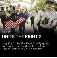"Sunday, a group of around two dozen white nationalists traveled to Washington, D.C. a year after the ""Unite the Right"" rally in Charlottesville that left counterprotester Heather Heyer dead. The ""Unite the Right 2"" rally-goers were vastly outnumbered by anti-racist demonstrators. The rally's organizer Jason Kessler blamed logistical issues for the small turnout. ___ ""You had some very bad people in that group, but you also had people that were very fine people, on both sides,"" President Trump said last year after the white nationalist rally. ___ Trump addressed ""Unite the Right 2"" Saturday morning on Twitter stating: ""The riots in Charlottesville a year ago resulted in senseless death and division. We must come together as a nation. I condemn all types of racism and acts of violence. Peace to ALL Americans!"" ___ Photo: Chip Somodevilla-Getty Images: U.S. NEWS  UNITE THE RIGHT 2  Aug 13 