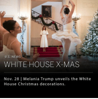 """The decorations are up!"" wrote Melania Trump on Twitter yesterday. Soon after her tweet, the White House officially unveiled the Christmas decorations for the 2017 holiday season (swipe right). The White House is expected to host over 25,000 visitors during the holiday season. __ The theme for this year's decorations are ""Time-Honored Traditions,"" which will cover 200 years of past holiday celebrations. __ Swipe Right for more photos. __ 📷Credit Tom Brenner-The New York Times: U.S. NEws  WHITE HOUSE X-MAS  Nov. 28 