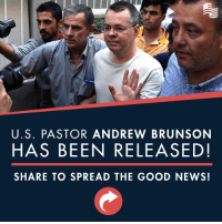 President Trump's efforts to restore American strength around the world continue to yield results. Great news that U.S. Pastor Andrew Brunson is being released!: U.S. PASTOR ANDREW BRUNSON  HAS BEEN RELEASED!  SHARE TO SPREAD THE GOOD NEWS! President Trump's efforts to restore American strength around the world continue to yield results. Great news that U.S. Pastor Andrew Brunson is being released!