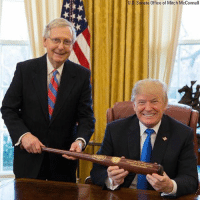 Baseball, Donald Trump, and Memes: U.S. Senate Office of Mitch McConnell To commemorate the passage of the tax reform bill, Senator Mitch McConnell gifted President Donald Trump with a Louisville Slugger baseball bat, from the Senator's home state, emblazoned with the Presidential Seal.