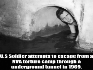 Dank Memes, Gay, and Camp: U.S Soldier attempts to escape from a  NVA torture camp through a  underground tunnel in 1969. Mods Gay!