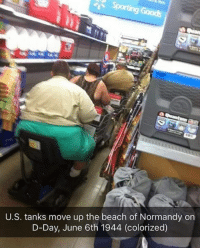 Dank, Beach, and 🤖: U.S. tanks move up the beach of Normandy on  D-Day, June 6th 1944 (colorized)