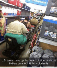 Beach, D-Day, and The Beach: U.S. tanks move up the beach of Normandy on  D-Day, June 6th 1944 (colorized) D-Day 1944