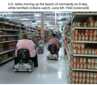 Beach, Watch, and D-Day: U.S. tanks moving up the beach of normandy on D-day,  while terrified civilians watch, June 6th 1944 (colorized) U.S. Tanks showing their firepower June 6th 1944