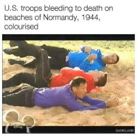Death, Beaches, and Normandy: U.S, troops bleeding to death on  beaches of Normandy, 1944,  colourised  DANKLAND Lest We Forget (1944)