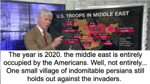 2020 Siege of the village Iran: U.S. TROOPS IN MIDDLE EAST  TURKEY  1,700  IRAQ  5,000  AFGHANISTAN  12,000  IRAN  SYRIA  500-1,000  BAHRAIN  KUWAIT  13,000+  7,000  Sources: DMDC,  Centcom,  Congressional  Research Service,  CNN estimates  SAUDI ARABIA  3,000  UAE  5,000+  QATAR  10,000  The year is 2020. the middle east is entirely  occupied by the Americans. Well, not entirely...  One small village of indomitable persians still  holds out against the invaders. 2020 Siege of the village Iran