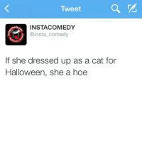 Cats, Facts, and Funny: Tweet  INSTA COMEDY  omedy  @insta comedy  If she dressed up as a cat for  Halloween, she a hoe facts 🙌😂
