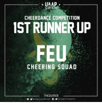 Filipino (Language), Cheerfulness, and Feu: UAAP  SEASON 7  CHEERDANCE COMPETITION  IST RUNNER UP  FEU  CHEERING SOUAD  INQUIRER,  @inquire rdotnet  Y @inquirer sports 🔰🐂 #ShowTam 🌟