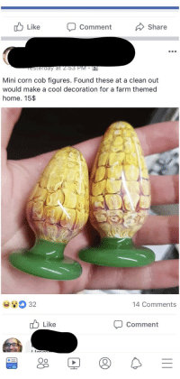 "memehumor:  Guy doesn't know what butt plugs look like, tries to sell on Facebook as ""decor"": ub Like Comment  Share  esterday at 2.53 PM PR  Mini corn cob figures. Found these at a clean out  would make a cool decoration for a farm themed  home. 15$  P.  32  14 Comments  Like  Comment  Oo memehumor:  Guy doesn't know what butt plugs look like, tries to sell on Facebook as ""decor"""