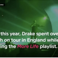 "Memes, 🤖, and Ing: ube)  this year, Drake spent ove  h on tour in England while  ing the  ore Life  playlist. RP-@Genius-""the UK's influence is all over @champagnepapi's MoreLife' 🇬🇧"" 💯 Drake WSHH"