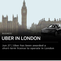"Crime, Memes, and Twitter: UBER  BUSINESS  UBER IN LONDON  Jun 27 | Uber has been awarded a  short-term license to operate in Londoin Uber is allowed to continue operating in London. The ride sharing app was previously declined a license renewal in the city for how the company reported crime on the platform. After some reforms, including new insurance policies and a helpline for drivers and riders, Uber has been granted a 15 month license. ___ London's mayor Sadiq Khan said on Twitter Tuesday: ""Uber remains strictly on probation, and TfL (Transport for London) will monitor it closely. No matter how big or powerful you are, you must play by the rules."""