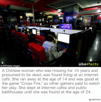 "Facts, Internet, and Memes: uber  facts  AFP/Getty Images  A Chinese woman who was missing for 10 years and  presumed to be dead, was found living at an internet  cafe. She ran away at the age of 14 and was good at  the game ""Cross Fire,"" so other gamers paid to watch  her play. She slept at internet cafes and public  bathhouses until she was found at the age of 24.  @UberFacts http://www.dailymail.co.uk/news/peoplesdaily/article-3330627/Chinese-woman-24-missing-decade-presumed-dead-living-internet-cafe-playing-games-10-years.html"