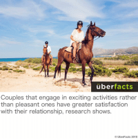 Facts, Memes, and Uber: uber  facts  Couples that engage in exciting activities rather  than pleasant ones have greater satisfaction  with their relationship, research shows.  UberFacts 2015 Tips.