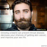 Beards can be good for you...: uber  facts  Growing a beard can prevent throat disease,  decrease your chances of getting skin cancer,  and improve your sex life  @UberFacts Beards can be good for you...