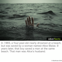 Crazy, Facts, and Instagram: uber  facts  In 1965, a four-year-old nearly drowned at a beach,  but was saved by a woman named Alice Blaise. 9  years later, that boy saved a man at the same  beach. That man was Alice's husband.  UberFacts 2016 Life is crazy.  https://www.instagram.com/uberfacts/