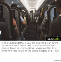 That's right, you're entitled to money and not having your face bashed.: uber  facts  In the United States, if you are delayed by an airline  for more than 4 hours due to actions within their  control (such as overbooking), you're entitled to 4  times the face value of the ticket, capped at $1,300  @UberFacts That's right, you're entitled to money and not having your face bashed.