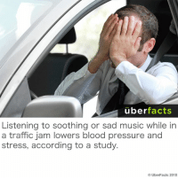 uber  facts  Listening to soothing or sad music while in  a traffic jam lowers blood pressure and  stress, according to a study.  UberFacts 2015 Listen to some music...