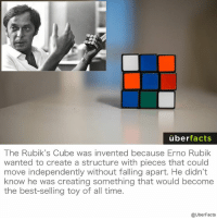 Memes, 🤖, and Legend: uber  facts  The Rubik's Cube was invented because Erno Rubik  wanted to create a structure with pieces that could  move independently without falling apart. He didn't  know he was creating something that would become  the best-selling toy of all time.  @UberFacts What a legend.
