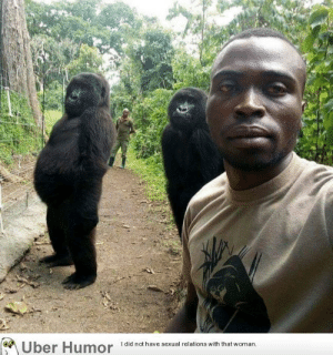 failnation:  Anti-poachers protecting gorillas: Uber Humor  I did not have sexual relations with that woman failnation:  Anti-poachers protecting gorillas