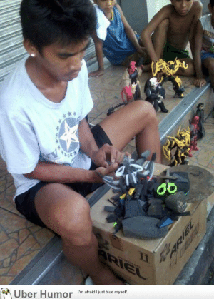 Tumblr, Uber, and Blog: Uber Humor  I'm afraid I just blue myself failnation:  A Filipino man makes and sells these action figures made out of worn out flip flops