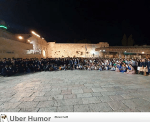 failnation:  104 year old holocaust survivor, Shoshana Ovitz, requested that all her children, grandchildren and descendants will gather at the Western Wall for a picture. this is the picture.: Uber Humor  Steve holt! failnation:  104 year old holocaust survivor, Shoshana Ovitz, requested that all her children, grandchildren and descendants will gather at the Western Wall for a picture. this is the picture.