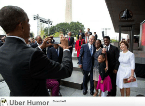failnation:  A family wanted to have their picture taken with former President George W. Bush and former First Lady Laura. President Bush took the Bonner's family smartphone and looking around for someone to snap the picture tapped President Obama on the shoulder and asked him to do the honors.: Uber Humor  Steve holt! failnation:  A family wanted to have their picture taken with former President George W. Bush and former First Lady Laura. President Bush took the Bonner's family smartphone and looking around for someone to snap the picture tapped President Obama on the shoulder and asked him to do the honors.