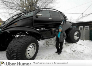 failnation:  A Nissan Maxima monster truck snowmobile for some reason: Uber Humor  There's always money in the banana stand failnation:  A Nissan Maxima monster truck snowmobile for some reason