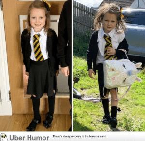 failnation:  First day back at school took its toll on this little girl: Uber Humor  There's always money in the banana stand failnation:  First day back at school took its toll on this little girl