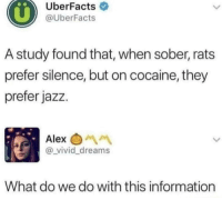 Cocaine, Information, and Sober: UberFacts  @UberFacts  A study found that, when sober, rats  prefer silence, but on cocaine, they  prefer jazz.  Alex  @_vivid_dreams  What do we do with this information