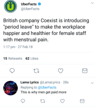 "Period, Lyrics, and British: UberFacts  @UberFacts  British company Coexist is introducing  ""period leave"" to make the workplace  happier and healthier for female staff  with menstrual pain  1:17 pm 27 Feb 18  15 Retweets 62 Likes  Lama Lyrics @LamaLyrics 28s  Replying to @UberFacts  This is why men get paid more No, this is why men in the workplace are liked more."