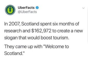 """Boost, Scotland, and Irl: UberFacts  @UberFacts  In 2007, Scotland spent six months of  research and $162,972 to create a new  slogan that would boost tourism.  They came up with """"Welcome to  Scotland."""" Me_irl"""