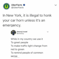 Memes, New York, and Traffic: UberFacts  @UberFacts  In New York, it is illegal to honk  your car horn unless it's arn  emergency.  Omoniyi Israel  omoissy  While in my country we use it  To greet people  To make traffic light change from  red to green  To remind people of common  sense What don't we use horn for?? 😂😂😂 krakstv