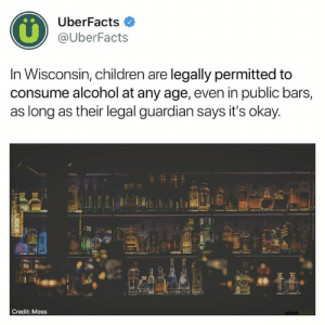 Children, Memes, and Alcohol: UberFacts  @UberFacts  In Wisconsin, children are legally permitted to  consume alcohol at any age, even in public bars,  as long as their legal guardian says it's okay  60  Credit: Moss The bars also have a right to refuse service.