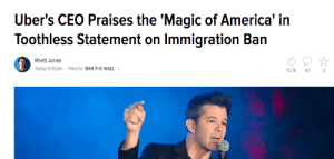 America, Blunts, and Friends: Uber's CEO Praises the 'Magic of America' in  Toothless Statement on Immigration Ban  Rhett Jones  Today 6:40pm Filed to: BAN THE WALL  13.7K  42 professeur-wrecks:  greentea-and-blunts:   cocomiracle:   mariahraemonroe:   vile-black-bile:   mariahraemonroe:   alexbelvocal:   harryedward:  Make sure you use lyft from now on, plus its cheaper than uber  Duly Noted   @vile-black-bile @okwhateverlove @thatkidkez Uhhhhhh…….  Not only that, but Lyft sent out an email this morning pledging to donate $1,000,000 over the next four years to the ACLU. AND they just had an expansion, so they're available in more cities now. AND they have weekly deals. This week, I get 20% off of evening rides. We don't fuck with uber no more.   Uber is DEAD!   Deleting my Uber app now   Always used Lyft during my drunken nights   Also important to know, NYC cab drivers went on strike to protest the ban on arriving immigrants!. This is a huge power move… but Uber quickly moved to fill that space! Not only are Uber drivers currently acting as scabs, effectively minimizing the impact of the strike, but Uber CEO Travis Kalanick is also buds with Trump and currently sits on his economic advisory board. Please, friends – uninstall Uber from your phones. Download Lyft, Curb, Bell Cab or Flywheel (Flywheel is currently only in Seattle, Portland, SF and San Diego, but working on expanding).
