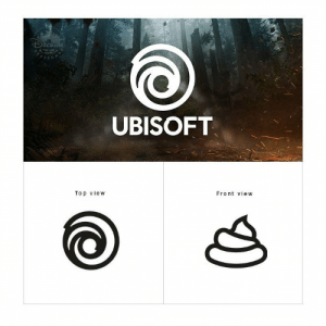 Ubisofts real logo: UBISOFT  Top vievw  Front view Ubisofts real logo