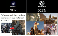"True, Ubisoft, and Historical: UBISOFT  UBISOFT  2007  2018  ""We removed the crossbow  to maintain true historical  accuracy'"" Bugisoft 😂"