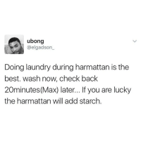 """Laundry, Memes, and 🤖: ubong  @elgadson  Doing laundry during harmattan is the  best. wash now, check back  20minutes (Max) later... If you are lucky  the harmattan will add starch If you love Harmattan, say """"Hiii 🙋🏽"""", if you don't, say """"Byeee 🏃🏽"""""""
