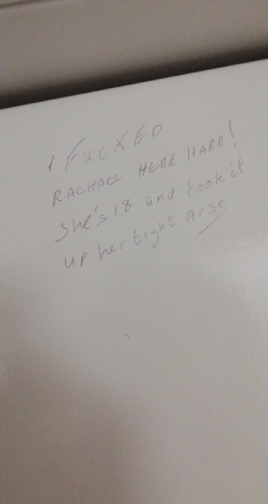 Bunk Beds, Board, and Her: ucKED  RACHAEL HERE HARD  She's 18 and fook if  UP her tight  Earse I clean cabins on board ferries and came across this inscribed into one of the bunk beds..