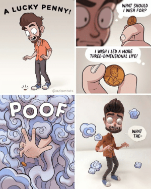 Life, Memes, and 🤖: UCKY PENNY!  WHAT SHOULD  IWISH FOR?  I WISH I LED A MORE  THREE-DIMENSIONAL LIFE!  @adamtots  POOF  WHAT  THE-  6 oops