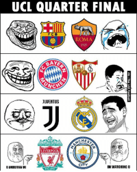 Club, Football, and Memes: UCL QUARTER FINAL  FCB  ROMA  1927  JUUENTUS  CHES  YOULL NEVERWALK ALON  LIVERPOOL  FOOTBALL CLUB  94  CITY  IM WATCHING U ChampionsLeague draw 😂😂😂 @instatroll.soccer