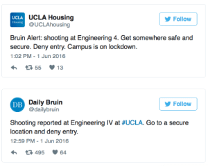 Fbi, News, and Police: UCLA  Housing  UCLA Housing  @UCLAhousing  Follow  Bruin Alert: shooting at Engineering 4. Get somewhere safe and  secure. Deny entry. Campus is on lockdown.  1:02 PM-1 Jun 2016  Dilly 3nvilin  @dailybruin  Follow  DB  Shooting reported at Engineering IV at #UCLA. Go to a secure  location and deny entry.  12:59 PM -1 Jun 2016  3495 64 micdotcom:  micdotcom:  micdotcom:  micdotcom:  Breaking: UCLA on lockdown after gunfire reported  The University of California at Los Angeles went into lockdown on Wednesday afternoon after reports of gunfire at an engineering building on campus. An official UCLA Twitter account, as well as the student newspaper, relayed orders to shelter in a safe and secure place and deny entry to intruders while authorities investigated the incident. More as this story develops.  Update 1:35 PM ET:According to MSNBC, police say at least two victims are dead. This is a breaking news story and will be updated as more information becomes available.  Update 2:20 PM:According to MSNBC, police sources said at least two victims are dead, but an official statement from UCLA spokesman Tod Tamberg only went as far as confirming that two people were shot. Heavily armed Los Angeles Police Department tactical teams were still clearing the building as of 2 p.m. Agents from the Bureau of Alcohol, Tobacco, Firearms and Explosives and the FBI are en route and will assist the LAPD in their rescue operations. Another tweet from the scene showed people barricading a door on campus. This is a breaking news story and will be updated as more information becomes available.   Update 6/2:Wednesday's shooting at the University of California, Los Angeles, was an apparent murder-suicide.Details have now emerged about William Klug, the engineering professor who was allegedly gunned down by a vengeful student over grades.