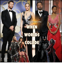 Memes, Superhero, and Arrow: ucttN  WORDS  -COLLIDE  ざ  HR It's all good in Hollywood! * Look who presented at the 2017 @goldenglobes together! @chrishemsworth with @gal_gadot and then @benaffleck with @zoesaldana (and Sienna Miller but I cropped her out, sorry lol). *** BenAffleck Batman TheDarkKnight GalGadot WonderWoman WonderGal ChrisHemsworth Thor ThorRagnorok ZoeSaldana Gamora GuardiansOfTheGalaxy Marvel MCU DCExtendedUniverse TheFlash Supergirl Arrow LegendsOfTomorrow ComicBook Superhero DCEU YoungJustice BatmanvSuperman UniteTheSeven JusticeLeague goldenglobes DCComics DCUniverse DCEntertainment