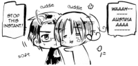 Target, Tumblr, and Blog: uddle cuddlie WAAAH  STOP  THIS  INSTANT!  AUSTRIA  ia  ja  soft roderich-edelfine:  hetalia-fantasia:Cuddling transparent dorks (source) I just noticed that Italy's face is a squished :3